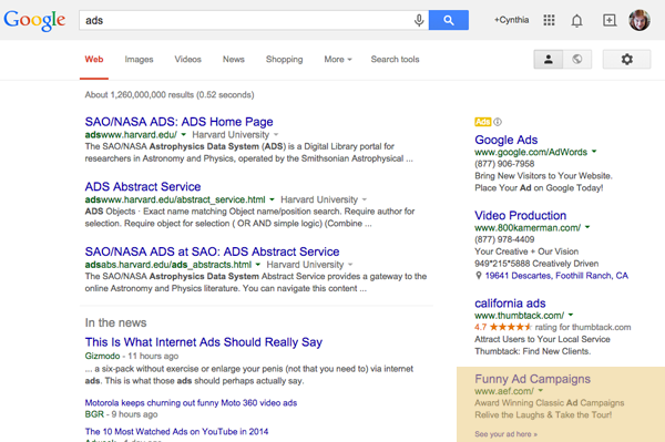 Screenshot of Google ad results